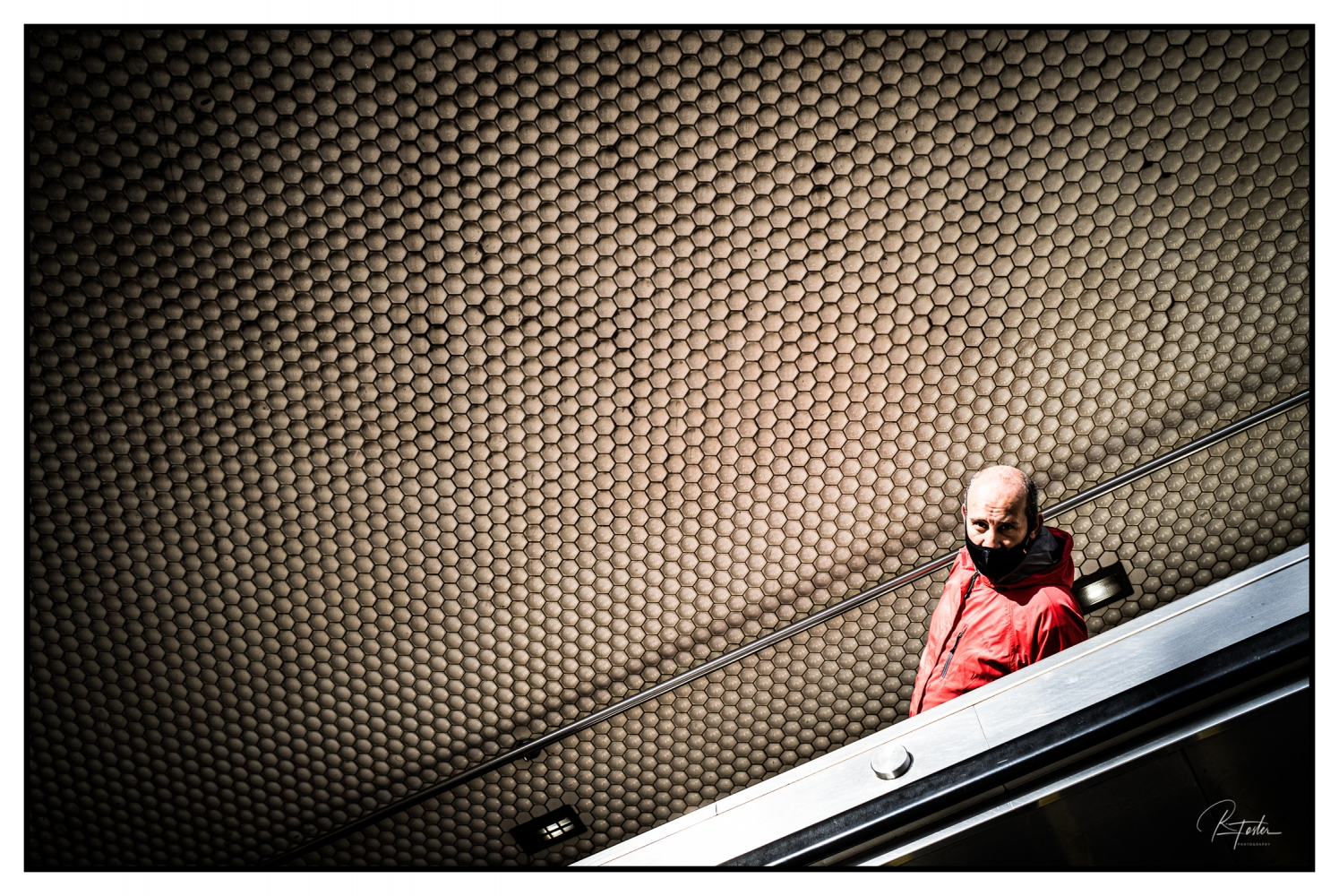 Looking Up from the Down Escalator, ©2021 Reginald Foster